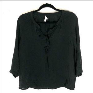 Joie black ruffle peasant blouse sz. M silk top